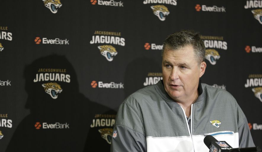 Jacksonville Jaguars interim head coach Doug Marrone speaks during a news conference following an NFL football game against the Indianapolis Colts in Indianapolis, Sunday, Jan. 1, 2017. The Colts defeated the Jaguars 24-20. (AP Photo/AJ Mast)