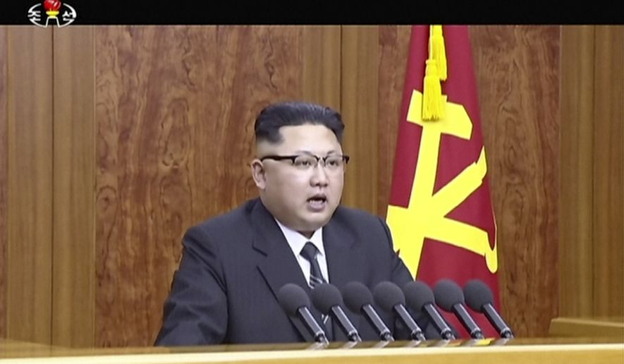 In this undated image from video distributed on Sunday, Jan. 1, 2017, by North Korean broadcaster KRT, North Korean leader Kim Jong Un delivers a speech in Pyongyang.  North Korean leader Kim Jong Un hinted Sunday that Pyongyang may be hoping to ring in the new year with another bang - the test-launch of an ICBM.  In his annual New Years address, Kim said that after testing what the North claims was its first H-bomb last year, preparations for launching an intercontinental ballistic missile have reached the final stage. (KRT via AP)
