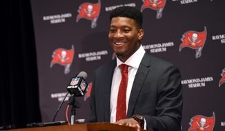 Tampa Bay Buccaneers quarterback Jameis Winston (3) speaks to the media following an NFL football game against the Carolina Panthers Sunday, Jan. 1, 2017, in Tampa, Fla. (AP Photo/Jason Behnken)