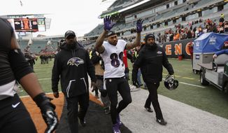 Baltimore Ravens wide receiver Steve Smith (89) walks off the field after an NFL football game against the Cincinnati Bengals, Sunday, Jan. 1, 2017, in Cincinnati. The Bengals won 27-10. (AP Photo/Frank Victores)