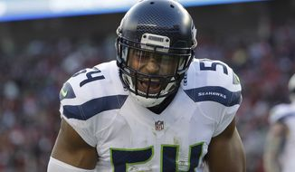 Seattle Seahawks middle linebacker Bobby Wagner yells against the San Francisco 49ers during the first half of an NFL football game in Santa Clara, Calif., Sunday, Jan. 1, 2017. (AP Photo/Marcio Jose Sanchez)