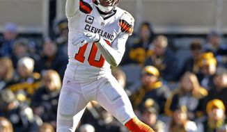 Cleveland Browns quarterback Robert Griffin III (10) throws a pass during the first half of an NFL football game against the Pittsburgh Steelers in Pittsburgh, Sunday, Jan. 1, 2017. (AP Photo/Jared Wickerham)