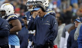 San Diego Chargers head coach Mike McCoy reacts during the second half of an NFL football game against the Kansas City Chiefs, Sunday, Jan. 1, 2017, in San Diego. (AP Photo/Alex Gallardo)