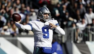 Dallas Cowboys' Tony Romo looks to pass during the first half of an NFL football game against the Philadelphia Eagles, Sunday, Jan. 1, 2017, in Philadelphia. (AP Photo/Michael Perez) **FILE**