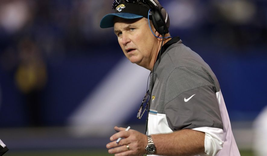 Jacksonville Jaguars interim head coach Doug Marrone watches from the sideline during the second half of an NFL football game against the Indianapolis Colts in Indianapolis, Sunday, Jan. 1, 2017. (AP Photo/AJ Mast)