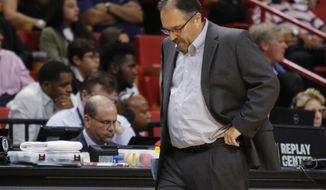 Detroit Pistons head coach Stan Van Gundy reacts in the first half against the Miami Heat in an NBA basketball game, Sunday, Jan. 1, 2017, in Miami. (AP Photo/Joe Skipper)