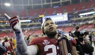 Alabama linebacker Ryan Anderson walks off the field after the Peach Bowl NCAA college football playoff game against Washington, Saturday, Dec. 31, 2016, in Atlanta. Alabama won 24-7. (AP Photo/David Goldman)