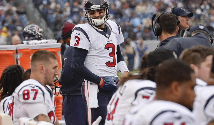 Houston Texans quarterback Tom Savage (3) stands on the sideline after coming back onto the field in the first half of an NFL football game against the Tennessee Titans Sunday, Jan. 1, 2017, in Nashville, Tenn. Savage was taken off the field earlier in the game to be examined after being shaken up on a play. (AP Photo/Mark Zaleski)