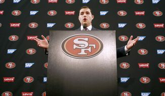San Francisco 49ers CEO Jed York speaks to reporters during a media conference Monday, Jan. 2, 2017, in Santa Clara, Calif. York answered questions regarding his decision to fire coach Chip Kelly and general manager Trent Baalke. (AP Photo/Tony Avelar)