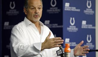 Indianapolis Colts head coach Chuck Pagano talks about the season during a news conference at the NFL team's practice facility in Indianapolis, Monday, Jan. 2, 2017. The Colts finished 8-8 and failed to make the playoffs. (AP Photo/Michael Conroy)