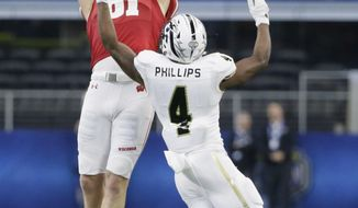 Wisconsin tight end Troy Fumagalli (81) catches a pass against Western Michigan cornerback Darius Phillips (4) during the fourth quarter of the Cotton Bowl NCAA college football game Monday, Jan. 2, 2017, in Arlington, Texas. (AP Photo/LM Otero)