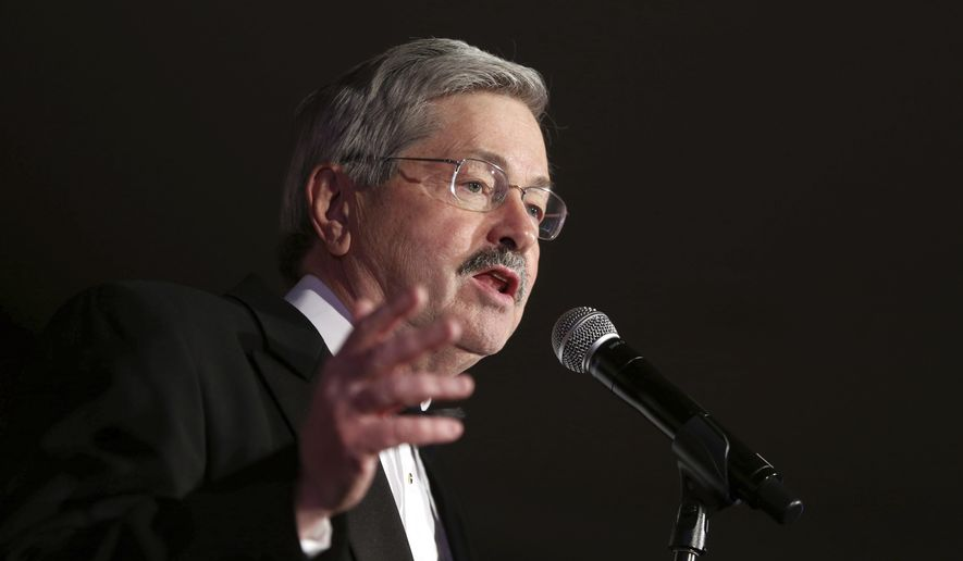 FILE - In this Jan. 16, 2015, file photo, Iowa governor Terry Branstad speaks during the Iowa Governor's Inaugural Ball in Des Moines, Iowa. A charity controlled by Branstad missed a deadline for disclosing the names of donors who paid for his 2015 inaugural celebration, keeping them secret even as he prepares to become the U.S. ambassador to China. (Charlie Litchfield/The Des Moines Register via AP, File)