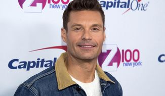 "FILE - In this Dec. 9, 2016 file photo, Ryan Seacrest attends Z100's iHeartRadio Jingle Ball at Madison Square Garden in New York. Seacrest says he and about five other people got stuck in a Times Square elevator before an appearance on ABC's ""Good Morning America"" and were rescued by firefighters. The host of ""Dick Clark's New Year's Rockin' Eve with Ryan Seacrest"" was heading up to the crystal ball on Friday morning, Dec. 30, 2016, when the elevator got stuck. (Photo by Charles Sykes/Invision/AP, File)"