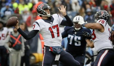 Houston Texans quarterback Brock Osweiler (17) passes as guard Oday Aboushi (78) blocks Tennessee Titans nose tackle Antwaun Woods (75) in the first half of an NFL football game Sunday, Jan. 1, 2017, in Nashville, Tenn. (AP Photo/James Kenney)