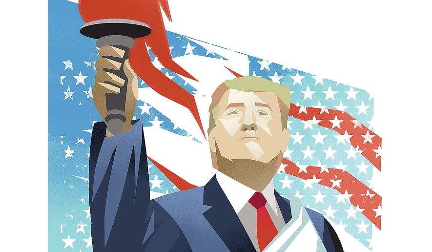 Triumphant Trump Illustration by Linas Garsys/The Washington Times