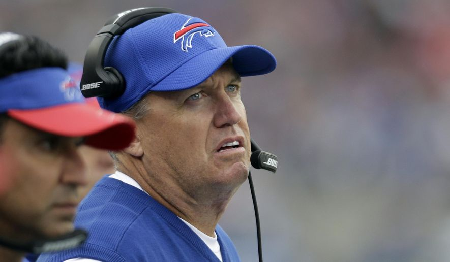 FILE - In this Oct. 2, 2016, file photo, Buffalo Bills head coach Rex Ryan, right, on the sidelines during the second half of an NFL football game against the New England Patriots in Foxborough, Mass. The Rex Effect in Buffalo lasted less than two full seasons, and now the Bills are in the familiar spot of opening a new year by launching yet another coaching search. (AP Photo/Steven Senne) ** FILE **