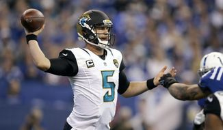 Jacksonville Jaguars quarterback Blake Bortles (5) throws against the Indianapolis Colts during the first half of an NFL football game in Indianapolis, Sunday, Jan. 1, 2017. (AP Photo/Darron Cummings)
