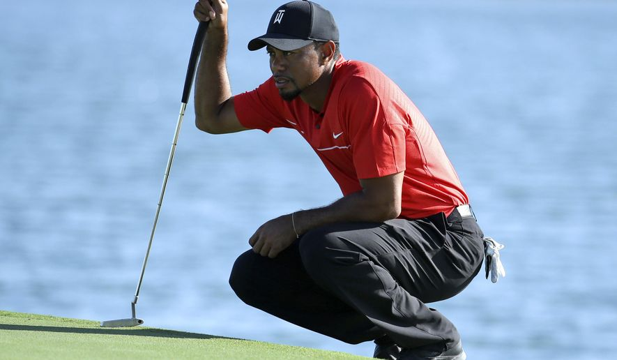FILE - In this Dec. 4, 2016, file photo, Tiger Woods lines up a putt on the 17th hole during the final round of the Hero World Challenge golf tournament in Nassau, Bahamas.  A new year starts with an old topic, with a twist. Instead of wondering when Tiger Woods will play, the question now is how will he play?  (AP Photo/Lynne Sladky, File)