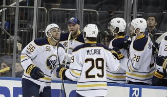 Buffalo Sabres' Justin Bailey (56) celebrates with teammates after scoring a goal during the second period of an NHL hockey game against the New York Rangers Tuesday, Jan. 3, 2017, in New York. (AP Photo/Frank Franklin II)