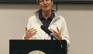 U.S. Interior Secretary Sally Jewell speaks at the National Interagency Fire Center in Boise, Idaho, after getting her last wildfire update from managers who oversee the nation's firefighting resources Tuesday, Jan. 3, 2017. Jewell says her 2015 secretarial order for a new wildfire-fighting plan to protect a wide swath of sagebrush country in the West that supports cattle ranching and is home to imperiled sage grouse will likely continue after the Obama administration ends. (AP Photo/Keith Ridler)