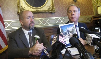 Wisconsin Assembly Speaker Robin Vos, right, and Assembly Majority Leader Jim Steineke, left, say supporters of hot-button issues like allowing the carrying of concealed weapons on college campuses need to generate public support before bringing them forward in the legislative session that began Tuesday, Jan. 3, 2017, in Madison, Wis. (AP Photo/Scott Bauer)