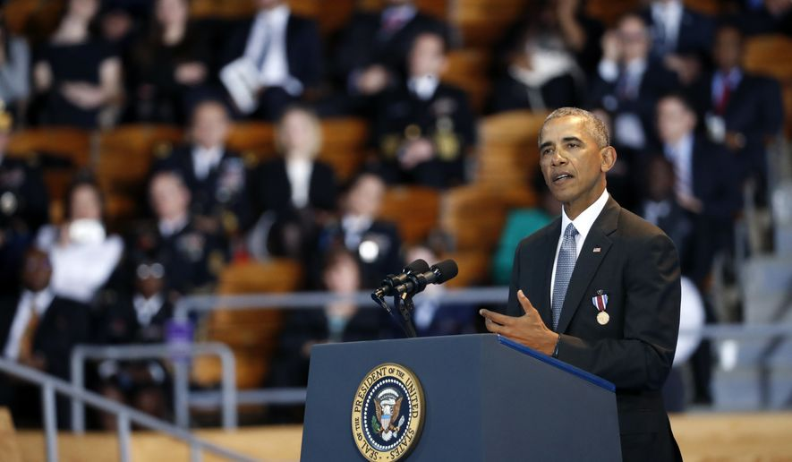 President Barack Obama speaks during an Armed Forces Full Honor Farewell Review for the president, Wednesday, Jan. 4, 2017, at Conmy Hall, Joint Base Myer-Henderson Hall, Va. (AP Photo/Alex Brandon)