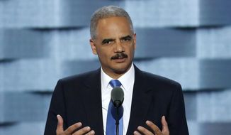 Former Attorney General Eric Holder speaks during the second day of the Democratic National Convention in Philadelphia on July 26, 2016. (Associated Press) **FILE**
