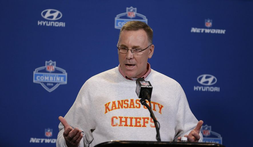 This Feb. 25, 2016 photo shows Kansas City Chiefs general manager John Dorsey speaking during a news conference at the NFL football scouting combine in Indianapolis. A year ago, in the days after the Chiefs were eliminated from the postseason by the New England Patriots, Dorsey was faced with a series of decisions that would shape whether Kansas City would be a contender the following season. (AP Photo/Michael Conroy)