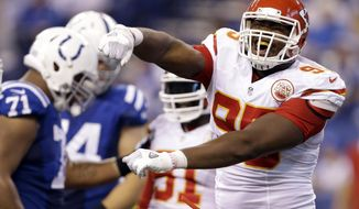 "FILE - In this Oct. 30, 2016, file photo, Kansas City Chiefs' Chris Jones celebrates after sacking Indianapolis Colts quarterback Andrew Luck during the second half of an NFL football game in Indianapolis. The Chiefs didn't have a first-round draft pick this year, and their second-round selection was met with a simple response: ""Who?"" Well, just about everybody in the league knows well who Chris Jones is these days. (AP Photo/Michael Conroy, File)"