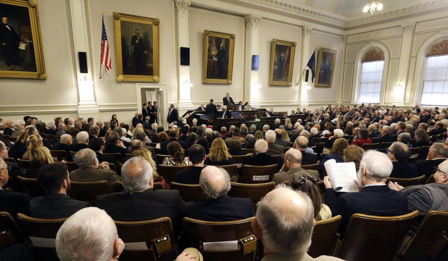 New Hampshire House Speaker Shawn Jasper presides over the year's first session in the House Chamber at the Statehouse, Wednesday, Jan. 4, 2017, in Concord, N.H. (AP Photo/Elise Amendola)