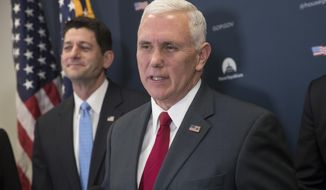 Vice President-elect Mike Pence, joins House Speaker Paul Ryan of Wis. during a news conference on Capitol Hill in Washington, Wednesday, Jan. 4, 2017, following a closed-door meeting with the GOP caucus to discuss repeal of President Obama's health care law now that the GOP is in charge of White House and Congress. (AP Photo/J. Scott Applewhite)