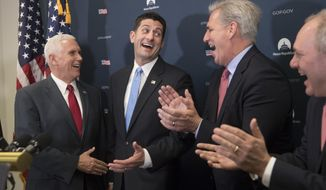 Vice President-elect Mike Pence, left, is welcomed before a news conference on Capitol Hill in Washington, Wednesday, Jan. 4, 2017, by, from second from left, House Speaker Paul Ryan of Wis., House Majority Leader Kevin McCarthy of Calif., and House Majority Whip Steve Scalise of La. following a closed-door meeting with the GOP caucus.  (AP Photo/J. Scott Applewhite)
