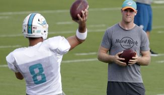 Miami Dolphins quarterback Ryan Tannehill, right, watches as quarterback Matt Moore (8) throws a pass during NFL football practice, Wednesday, Jan. 4, 2017 in Davie, Fla. Tannehill didn't take part in practice, making it unlikely he'll return from a left knee injury. The Dolphins play the Pittsburgh Steelers in an AFC Wild-Card game Sunday. (AP Photo/Lynne Sladky)