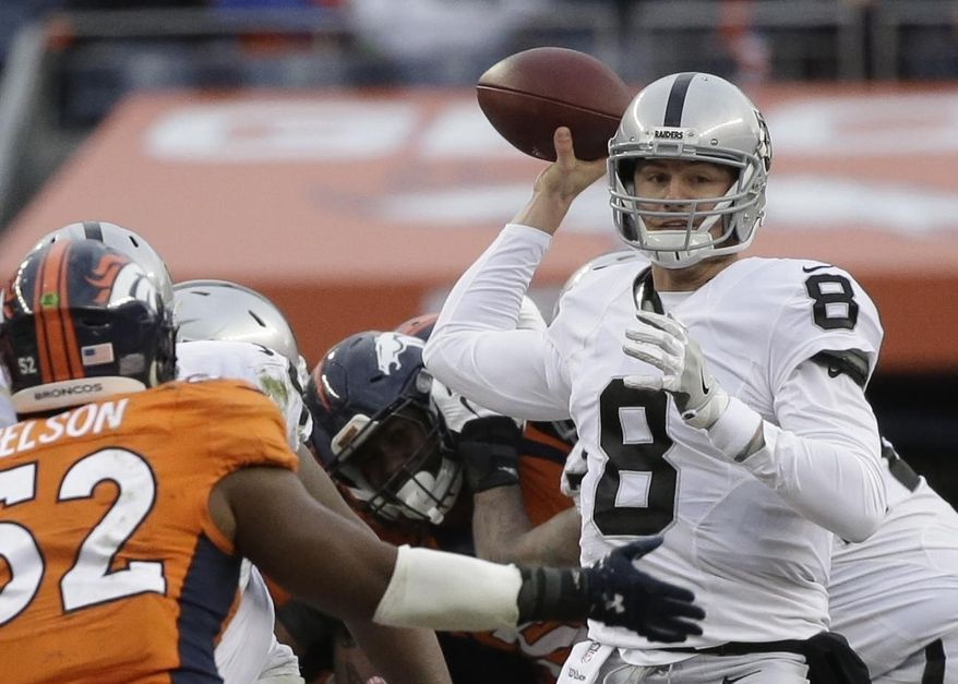 In this Sunday, Jan. 1, 2017, photo, Oakland Raiders quarterback Connor Cook passes against the Denver Broncos in the first half of an NFL football game in Denver. The  Raiders are going with rookie Connor Cook at quarterback in their wild-card game against the Texans. Cook gets the nod with Pro Bowler Derek Carr out with a broken leg and backup Matt McGloin nursing a shoulder injury that could make it tough for him to practice enough before Saturday's game at Houston. (AP Photo/Jack Dempsey)