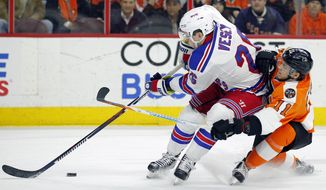 New York Rangers' Jimmy Vesey, left, is followed by Philadelphia Flyers' Travis Konecny as he brings the puck into the offensive zone during the first period of an NHL hockey game, Wednesday, Jan. 4, 2017, in Philadelphia. (AP Photo/Tom Mihalek)
