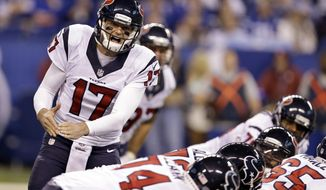 FILE - In this Dec. 11, 2016, file photo, Houston Texans quarterback Brock Osweiler yells on the line of scrimmage during the first half of an NFL football game against the Indianapolis Colts in Indianapolis. Osweiler is getting a second chance to start for the Houston Texans. With Tom Savage still in the concussion protocol the Texans will look to their $72 million man to lead them in their wild-card playoff game against Oakland on Saturday.  (AP Photo/Michael Conroy, File)