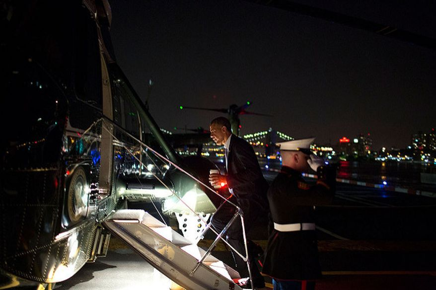 President Barack Obama boards Marine One at the Wall Street Landing zone for departure en route to John F. Kennedy International Airport in New York, N.Y., June 17, 2014. (Official White House Photo by Pete Souza)