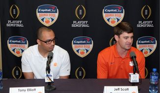 Associated Press Clemson is playing for the national championship for a second time in as many years as Tony Elliott and Jeff Scott have held the position as co-offensive coordinators.