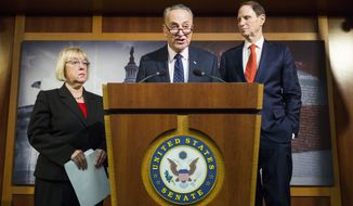 Senate Minority Leader Charles Schumer of N.Y., flanked by Sen. Patty Murray, D-Wash., left, and Sen. Ron Wyden, D-Ore., speaks during a news conference on Capitol Hill in Washington, Thursday, Jan. 5, 2017, to discuss the nomination of Rep. Tom Price, R-Ga. to become Health and Human Services secretary. (AP Photo/Zach Gibson)