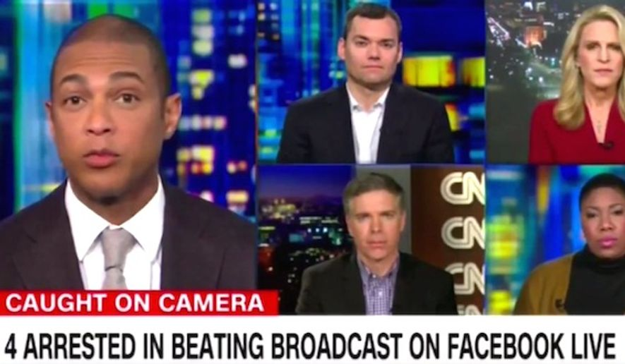 "CNN host Don Lemon told guests on Wednesday, Jan. 4, 2017, that suspects who allegedly tortured a man in Chicago during a Facebook Live video were the victims of ""bad home training."" (CNN screenshot)"
