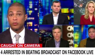 """CNN host Don Lemon told guests on Wednesday, Jan. 4, 2017, that suspects who allegedly tortured a man in Chicago during a Facebook Live video were the victims of """"bad home training."""" (CNN screenshot)"""