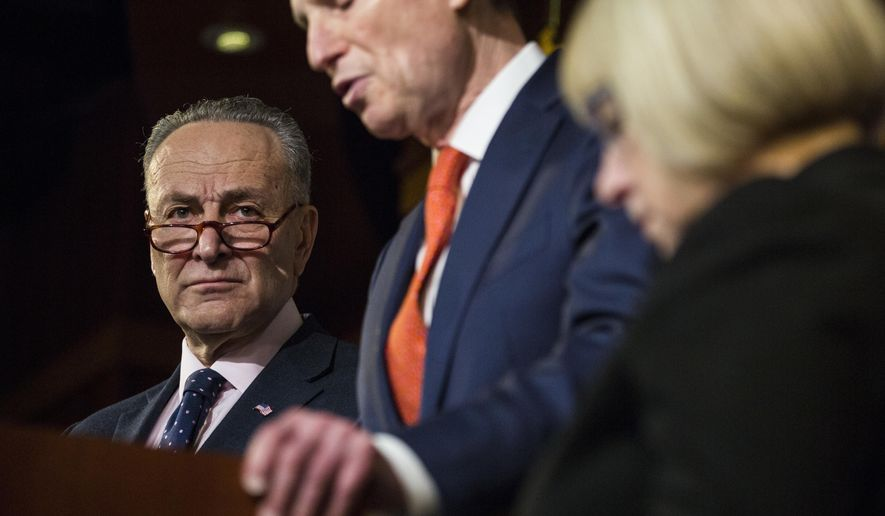 Senate Minority Leader Charles Schumer of N.Y., left, and Sen. Patty Murray, D-Wash., right, listen as Sen. Ron Wyden, D-Ore. speaks during a news conference on Capitol Hill in Washington, Thursday, Jan. 5, 2017, to discuss the nomination of Rep. Tom Price, R-Ga. to become Health and Human Services secretary. (AP Photo/Zach Gibson)