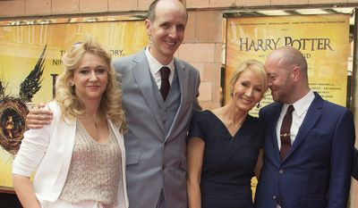 FILE - In this Saturday, July 30, 2016 file photo, from left to right, producer Sonia Friedman, writers Jack Thorne, J.K. Rowling and director John Tiffany pose for photographers upon arrival at gala performance of Harry Potter and the Cursed Child, at the Palace Theatre in central London. The producer who brought the magic of Harry Potter to the London stage has been named the most influential figure in British theater. Sonia Friedman topped the annual 100-strong power list produced by The Stage newspaper, it was reported on Thursday, Jan. 5, 2017. (Photo by Joel Ryan/Invision/AP, File)