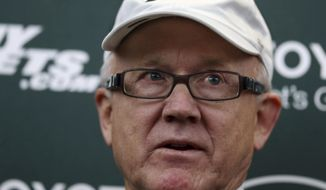 New York Jets owner Woody Johnson answers a question as he addresses the media at the team's training facility, Thursday, Jan. 5, 2017, in Florham Park, N.J. AP Photo/Mel Evans)