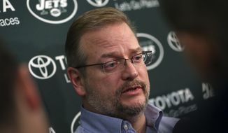New York Jets general manager Mike Maccagnan answers a question as he addresses the media at the team's training facility Thursday, Jan. 5, 2017, in Florham Park, N.J. AP Photo/Mel Evans)