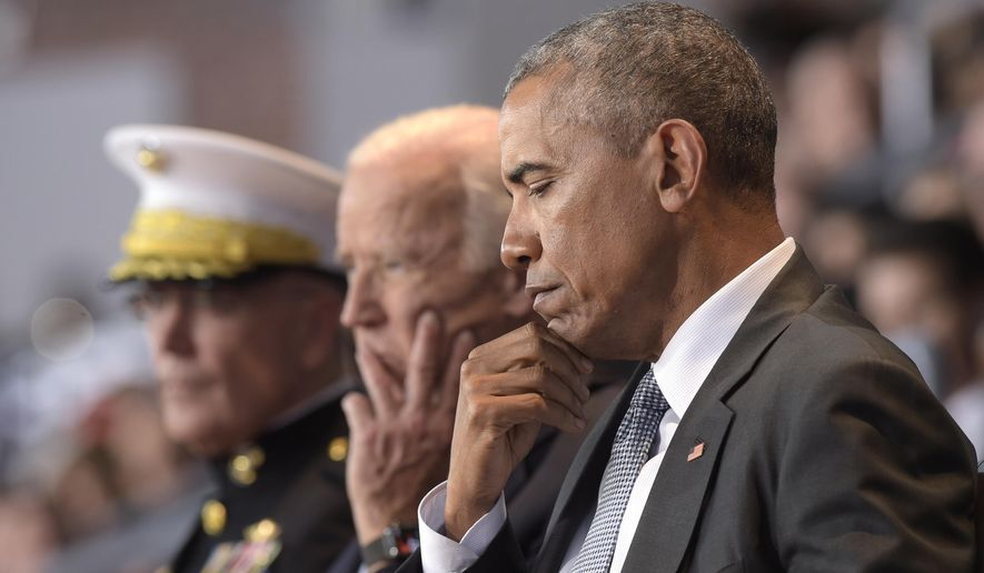 President Barack Obama, Vice President Joe Biden, center, and Joint Chiefs Chairman Gen. Joseph Dunford, left, listen as Defense Secretary Ash Carter speaks during an Armed Forces Full Honor Farewell Review for the president, Wednesday, Jan. 4, 2017, at Conmy Hall, Joint Base Myer-Henderson Hall, Va. (AP Photo/Susan Walsh)