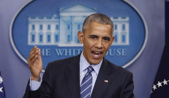 In this Dec. 16, 2016, file photo, President Barack Obama speaks during a news conference in the briefing room of the White House in Washington. (AP Photo/Pablo Martinez Monsivais, File)  **FILE**