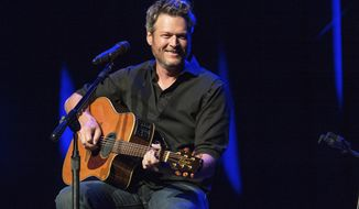 FILE - This June 7, 2016 file photo shows Blake Shelton performing at the 12th Annual Stars for Second Harvest Benefit at Ryman Auditorium in Nashville, Tenn. Shelton will be the face behind two new music venues in Tennessee and Oklahoma owned by Ryman Hospitality Properties. At a press conference Thursday, Jan. 5, 2017, in Nashville, Shelton and Colin Reed, the CEO of Ryman Hospitality Properties, announced details about Ole Red Nashville and Ole Red Tishomingo, in the Oklahoma town where Shelton lives. (Photo by Amy Harris/Invision/AP, File)