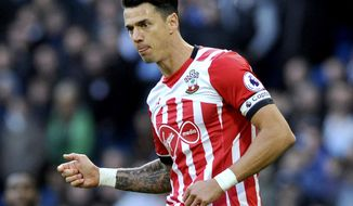 FILE  - In this Sunday, Oct. 23, 2016 file photo, Southampton's Jose Fonte runs, during the English Premier League soccer match between Manchester City and Southampton at the Etihad Stadium in Manchester, England. Southampton says captain Jose Fonte wants to leave the Premier League club and has handed in a transfer request, it was reported on Thursday, Jan. 5, 2017. (AP Photo/Rui Vieira, File)