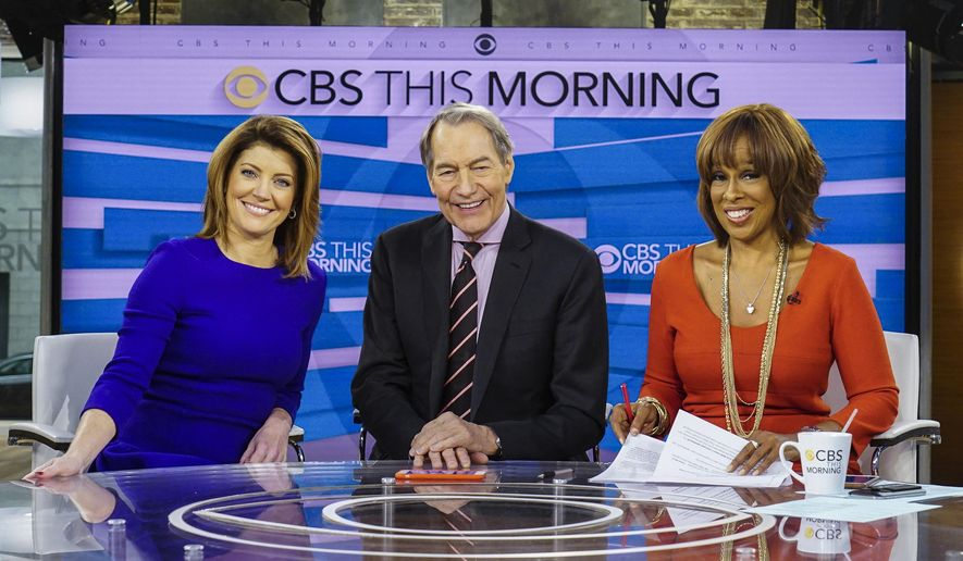 "This Dec. 7, 2016 image released by CBS shows, from left, Norah O'Donnell, Charlie Rose and Gayle King on the set of ""CBS This Morning,"" in New York. (Michele Crowe/CBS via AP)"